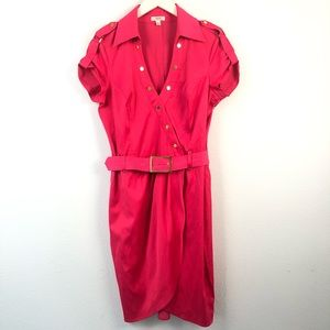 Cache bright pink belted button down utility dress
